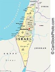 israel, político, mapa