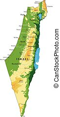 Israel relief map - Highly detailed physical map of Israel, ...