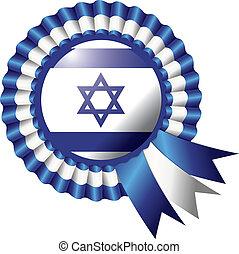 Israel rosette flag - Israel detailed silk rosette flag,...