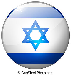 Israel Round Glass Button