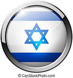 Israel Round Metal Glass Button