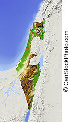 Israel, shaded relief map - Israel, without West Bank....