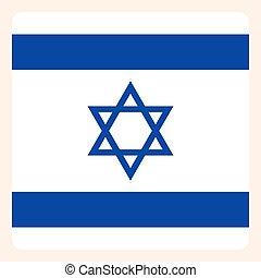 Israel square flag button, social media communication sign,...