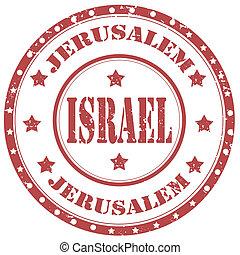 Israel-stamp - Grunge rubber stamp with text Jerusalem-...