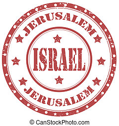 Israel-stamp - Grunge rubber stamp with text...
