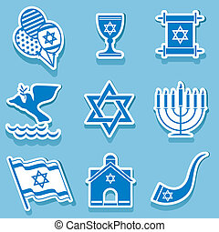 israel symbol - set vector icons of israel sign and symbol