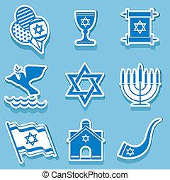 israel symbol - set vector icons of israel sign and symbol
