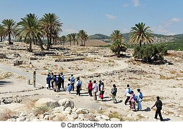 israel, tel, viagem, -, fotografias, megiddo
