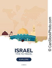 Israel. Time to travel. Travel poster. Vector flat...