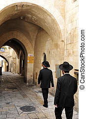 Israel Travel Photos - Jerusalem - Jewish orthodox people in...