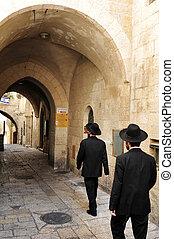 Jewish orthodox people in the Jewish Quarter in Jerusalem, Israel.
