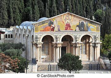 Israel Travel Photos - Jerusalem - Gethsemane Church in...