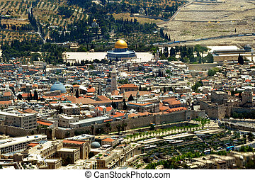 Israel Travel Photos - Jerusalem - Aerial view of the Golden...