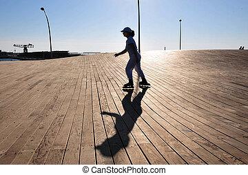 Israel Travel Photos - Tel Aviv - A woman roller skates at ...
