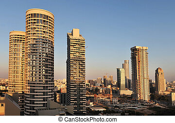 Israel Travel Photos - Tel Aviv - Aerial view of skyscrapers...