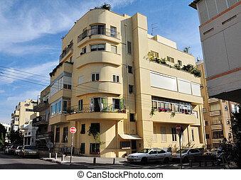 Bauhaus architecture building in Tel Aviv, Israel.