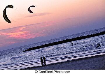 Israel Travel Photos - Tel Aviv - Kiteboarding along...