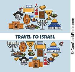 Israel travel vector poster of landmark symbols