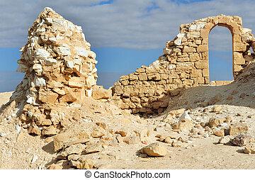israel, uralt, nitzana, süden, fort