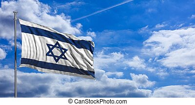 Israel waving flag on blue sky. 3d illustration