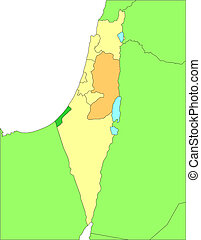 Israel with Administrative Districts and Surrounding...