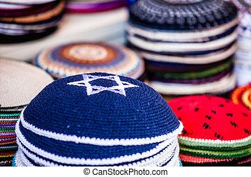 israel., yarmulke, jüdisch, -, traditionelle , headwear