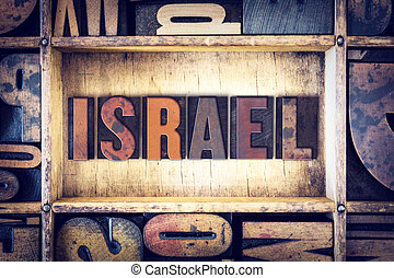 israele, concetto, tipo, letterpress