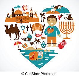 israele, -, cuore, con, set, di, vettore, illustrazioni