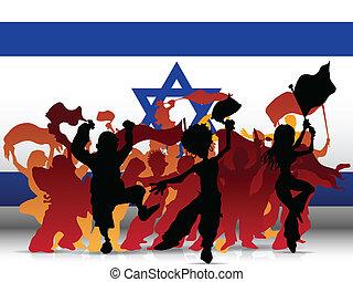 israele, sport, ventilatore, bandiera, folla