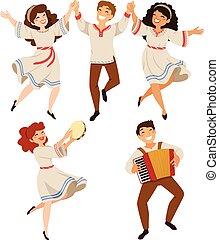 Israeli and Balkan Folk Dance - Men and women dancing...
