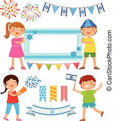 set of cartoons for Israels Independence Day