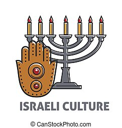 Israeli culture promo poster with vintage candle stick and...