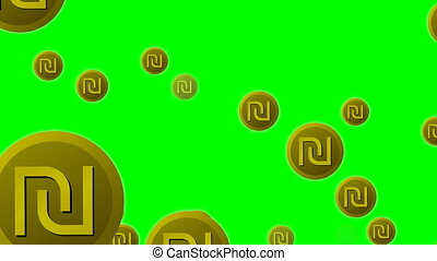 Israeli currency shekel symbol icons flying on green screen,...