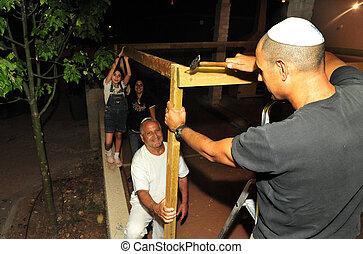 israeli, familie, sukkoth, jüdisch, bereitet, feiertag