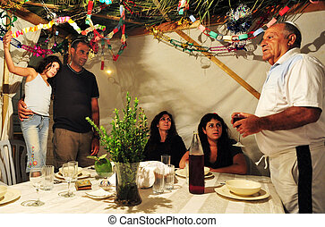 Israeli Family Celebrates the Jewish Holiday Sukkoth -...
