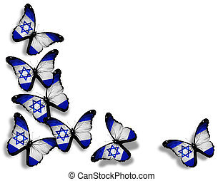 Israeli flag butterflies, isolated on white background