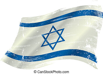 Israeli flag - flag of Israel in the wind with a texture