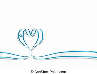 Israeli flag heart-shaped ribbon. Vector illustration. -...
