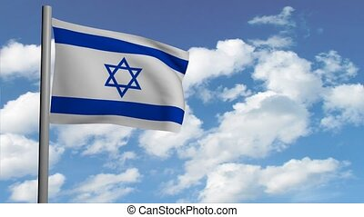 israeli flag on sky background with white clouds, computer...