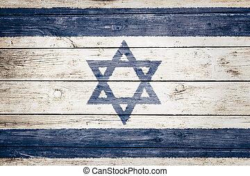 israeli flag on wood texture background