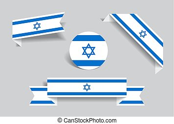 Israeli flag stickers and labels. Vector illustration. -...
