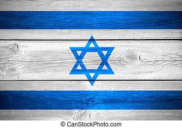 Israeli flag - flag of Israel or Israeli banner on wooden...