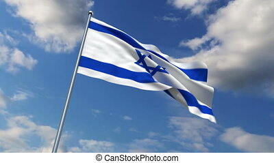 Israeli flag waving against time-lapse clouds background