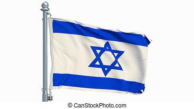 Israeli flag waving on white background, animation. 3D...