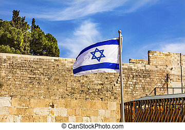 "Israeli Flag Western ""Wailing"" Wall Jerusalem Israel -..."