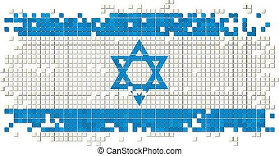 Israeli grunge tile flag. Vector