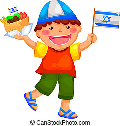 kid holding the Israeli flag and eating falafel