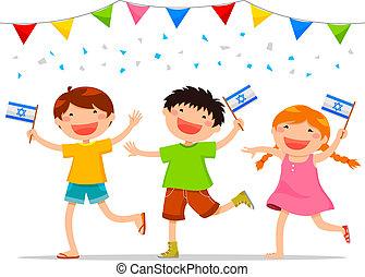israeli kids - children holding Israeli flags celebrating...
