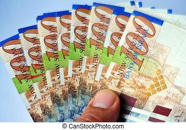 Israeli Money & Economy - One Hundred Shekel Bills isolated...