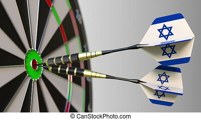 Israeli national achievement. Flags of Israel on darts hitting bullseye. Conceptual 3D animation